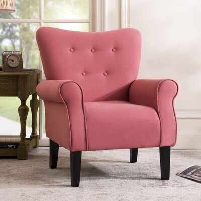 """Thumbnail for your product : Red Barrel Studio Gurseese 30.5"""" Wide Armchair Fabric: Green Linen Blend"""