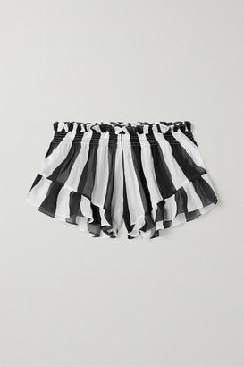 Caroline Constas Ruffled Striped Chiffon Shorts - Black