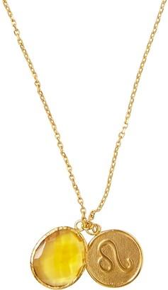Ottoman Hands Leo Zodiac Necklace With Citrine Charm