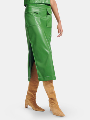 STAUD Burn Vegan Leather Midi Skirt