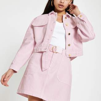 River Island Womens Pink oversized denim jacket