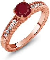 Gem Stone King 1.15 Ct Round Red Ruby White Sapphire 18K Rose Gold Engagement Ring