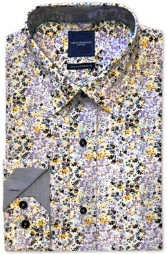 Nick Graham Men's Modern-Fit Stretch Floral-Print Dress Shirt