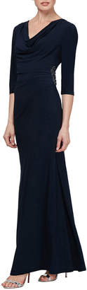 Slny Cowl-Neck 3/4-Sleeve Column Gown with Bead Embellishment