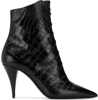 Saint Laurent Crocodile-Effect Lace-Up Ankle Boots