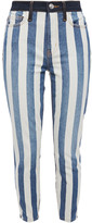 Thumbnail for your product : Current/Elliott The Stiletto Cropped Striped High-rise Skinny Jeans