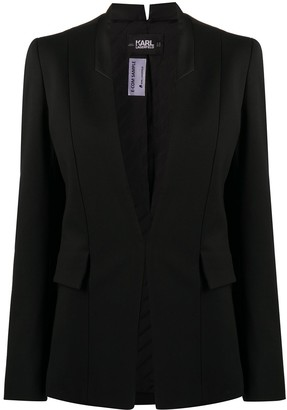 Karl Lagerfeld Paris Contrast Lapel Fitted Blazer