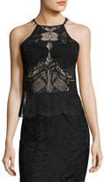 Jonathan Simkhai Sleeveless Lace Scalloped-Edge Top, Black