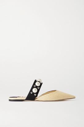 Jimmy Choo Basette Embellished Raffia Point-toe Flats - Beige