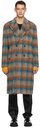 Wooyoungmi Orange and Blue Check Wool Double-Breasted Coat
