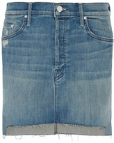Mother The Step Distressed Stretch-denim Mini Skirt - Mid denim