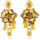 Ranjana Khan 14K Gold-Plated Raffia Leather Crystals And Antique Gold Coins Drop Earrings