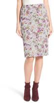 Halogen Floral Print Neoprene Pencil Skirt (Petite)