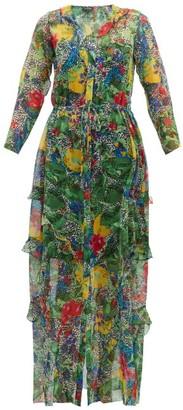 Saloni Izzie Abstract Floral-print Silk Dress - Womens - Green Multi