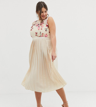Little Mistress Plus embroidered top midi pleated dress in cream multi