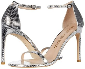 Stuart Weitzman Nudistsong (Silver Mini Printed Metallic Snake) High Heels