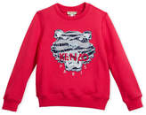 Kenzo Pullover Sweatshirt w/ Striped Tiger Face, Pink, Size 8-12