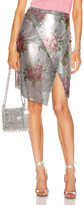 Paco Rabanne Printed Mesh Iconic Skirt in Silver Bouquet | FWRD