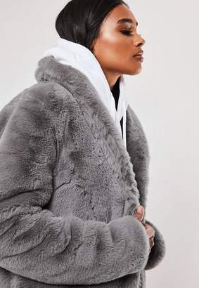 Missguided Tall Gray Shawl Collar Faux Fur Coat