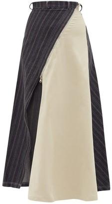 Roni Helou - Illustris Asymmetric Denim And Twill Skirt - Grey Multi