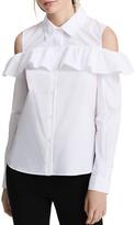 Calvin Klein Cold Shoulder Ruffle Blouse