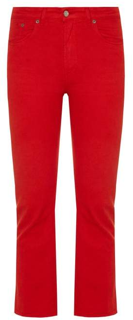 Golden Goose Kick Flare Cropped Jeans - Womens - Red
