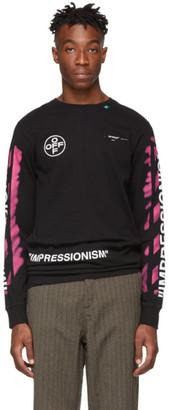 Off-White Black Long Sleeve Diag Stencil T-Shirt