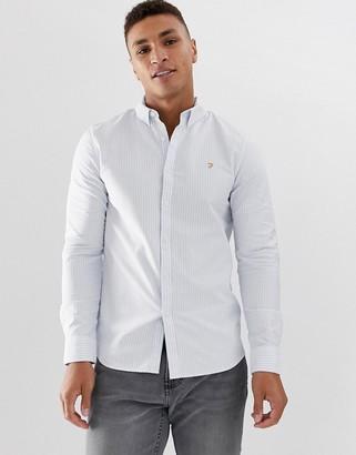 Farah Brewer slim fit stripe oxford shirt in blue