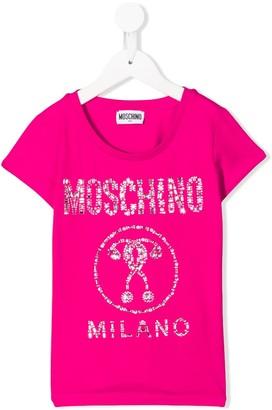 MOSCHINO BAMBINO studded logo print scoop neck T-shirt