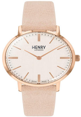 Henry London Unisex Regency Classic Analog Pink Suede Strap Watch 34 mm