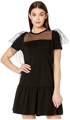 RED Valentino Milano Stitch Trapeze Dress (Black) Women's Dress