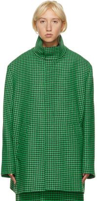 Balenciaga Green Houndstooth Wool Coat