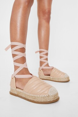 Nasty Gal Womens Faux Leather Quilted Lace Up Espadrilles