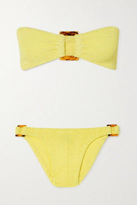 Hunza G + Net Sustain Gloria Embellished Seersucker Bandeau Bikini - Yellow