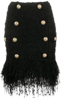 Balmain Short Fringed Tweed Skirt