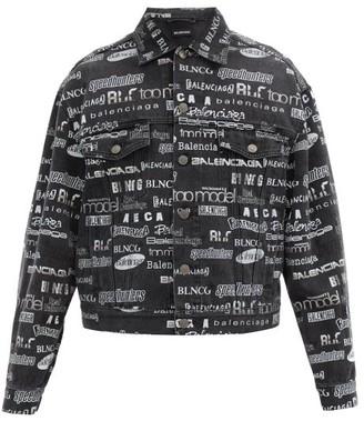 Balenciaga Logo-print Cotton-denim Jacket - Grey