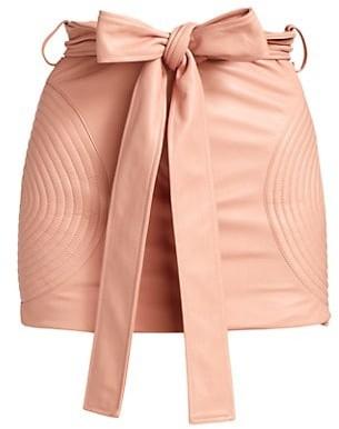 LaQuan Smith Paper Bag Moto Cross Mini Skirt