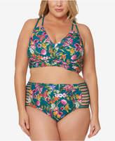 Jessica Simpson Plus Size Printed Strappy High-Waist Bikini Briefs Women's Swimsuit