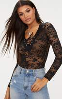 PrettyLittleThing Black Lace Up Detail Lace Thong Bodysuit