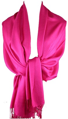 HAAS TRADING High Quality Pashmina Hijab Scarf Silk Satin Sateen Stole Neck Wrap Bride Shawls (Fuchsia)