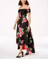 Trixxi Trioxid Juniors' Embellished Printed High-Low Dress