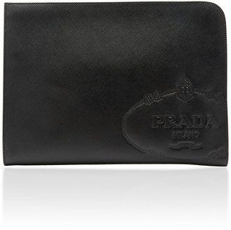 Prada Embossed Logo Leather Pouch