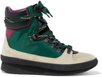 Isabel Marant Brendta Shell, Mesh, Leather And Suede Ankle Boots