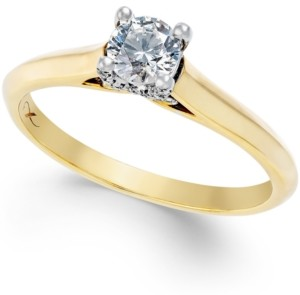 X3 Certified Diamond Solitaire Engagement Ring in 18k Yellow Gold with 18k White Gold (1/3 ct. t.w.)