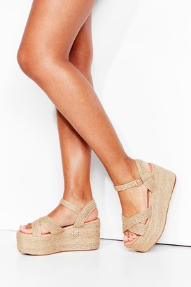 Nasty Gal Womens Straw It Here First Platform Woven Sandals - Natural