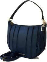 Michael Kors Brooklyn Applique Large Leather Shoulder Hobo Bag Blue