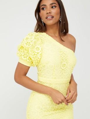 Very One Shoulder Fluted Hem Lace Dress - Lemon