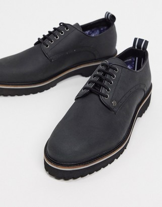 Original Penguin chunky postman lace up shoes in black leather