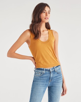 7 For All Mankind Vintage Crop Tank Sweater in Amber