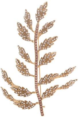 Dolce & Gabbana Crystal Embellished Leaf Brooch